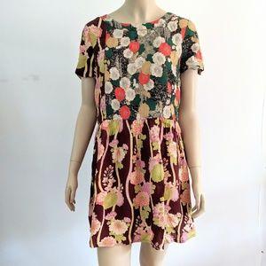 ASOS Floral Mixed Print Short Sleeve Mini Dress